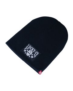 SKULL STARS PATCH BEANIE - ONE SIZE - BLACK
