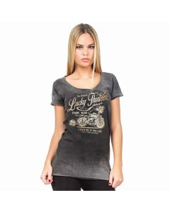 L13- CATCH ME - LADIES  TEE - Washed Black